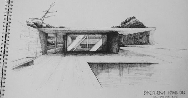 Barcelona pavilion mies van der rohe 1929 drawing for Seagram building ppt