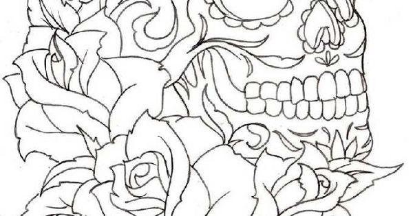 skull and roses kleurplaten volwassenen pinterest kleuring schedels en kleurplaten