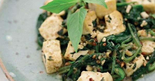 Spicy Thai Tofu With Spinach, Basil, and Peanuts From ...