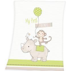 Microfaserflausch Bauernhof Motiv 75 x 100 cm Herding Fynn Babydecke Mehrfarbig