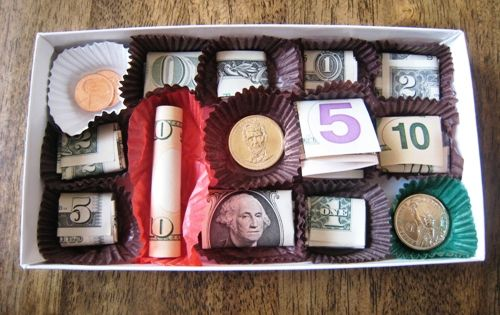 Box of Chocolates Money Gift - great graduation gift idea
