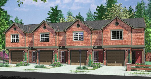 House front color elevation view for d 441 multifamily for Reverse house plans