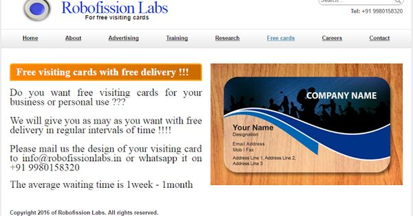 Freebie Alert - Free visiting cards with free delivery  Unlimited - visiting cards