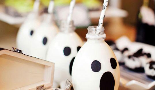 Milk bottle ghost drinks. Elegant Halloween Party Dessert Table - Kara's Party