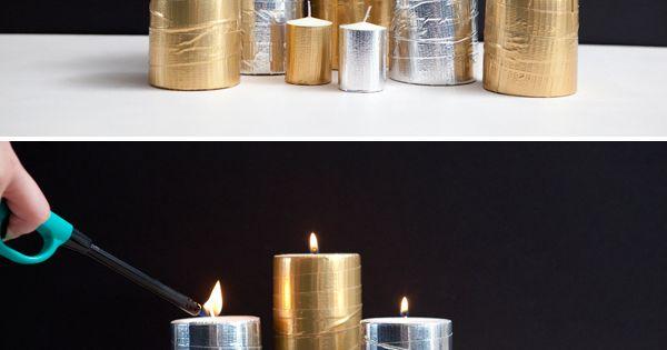DIY: metallic duct tape candles