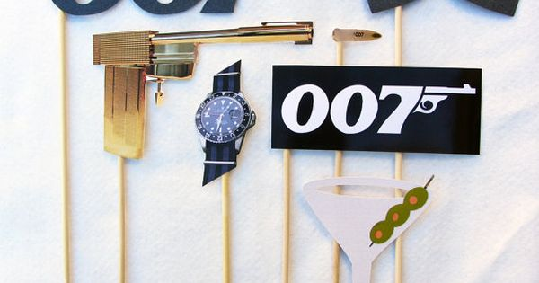 James Bond Photo Booth Prop Collection Set or by livelaughlovelots, $29.00