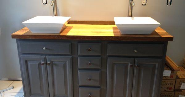 Black Vanity Cabinet Vessel Sink: DIY Bathroom Vanity, Used The Barn Wood Hemlock Pieces