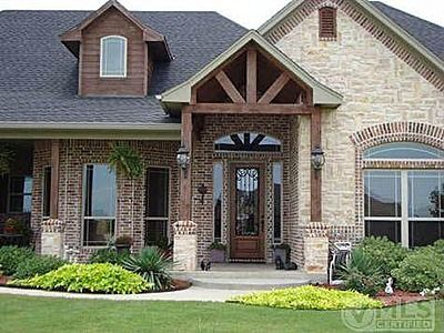 5410 Shiloh Forest Dr Midlothian Like The Brick And Stone Combo And The Wood Trim Notice The Posts Brick Exterior House Stone Exterior Houses Exterior Brick