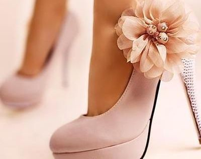 PINK Heels, these would be cute bridesmaids shoes.