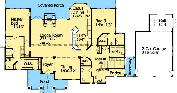 Plan 15792ge cozy cottage with dual master suite for Double master suite floor plans