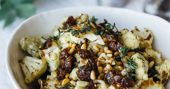 Za'atar Roasted Cauliflower with Dates, Pine Nuts and Thyme | Recipe ...