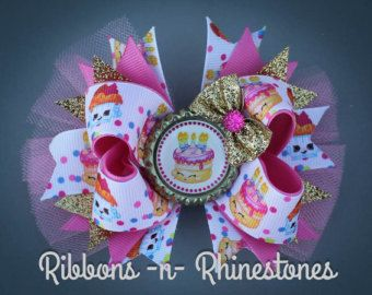 birthday bow baby shower gift Shopkin fabric bow headbands Shopkins bow back to school bow