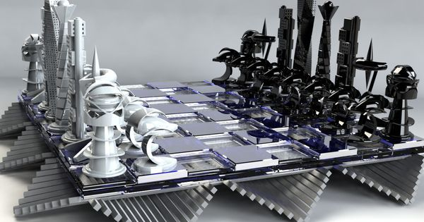 Artistic metal chess mid century and cool chess sets pinterest chess chess sets and - Multi level chess board ...