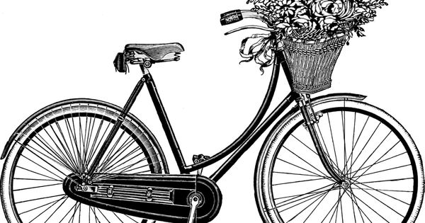 Bicycle with Basket Drawing Coloring