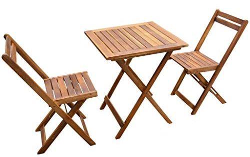 Festnight Salon De Jardin Meubles De Jardin 2 Chaises Et 1 Table Pliable En Bois Pour Patio En 2020 Ensemble Patio Salon De Jardin Table De Jardin