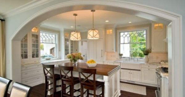 Dream Kitchens - Cleverly Inspired | Love this arch and those windows!