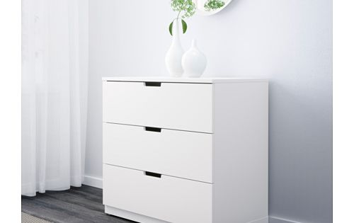 nordli commode 3 tiroirs blanc meuble entr e meuble salle de bain et penderie. Black Bedroom Furniture Sets. Home Design Ideas