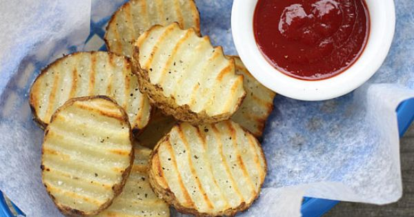 Grilled Potatoes via Skinny Taste: 2 medium russet potatoes / 2 tsp