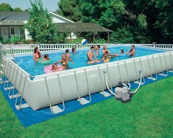 Intex 32 X 16 X 52 Ultra Frame Rectangular Pool Set 2 500 Filter Pump And Accessories Included Rectangular Swimming Pools Intex Swimming Pool Swimming Pools