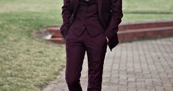 Burgundy three piece #suit #menswear #wedding LOVE this suit!