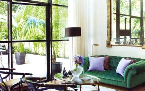 #Emerald Green Couch Green Sofa Black Accents Lavender Accents Living Room