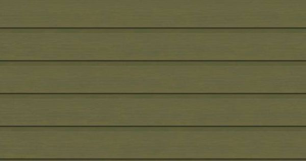 Double Dutch Lap Vinyl Siding In Olive Green Faced With Wide White Window Trim And