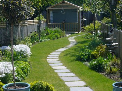 Long narrow garden design google search newark garden for The garden design team newark