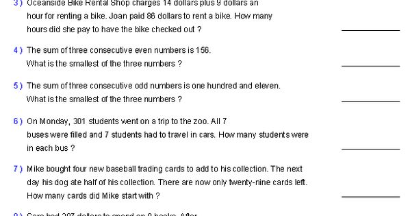 Two Step Equation Word Problems Worksheets Math Aids Com