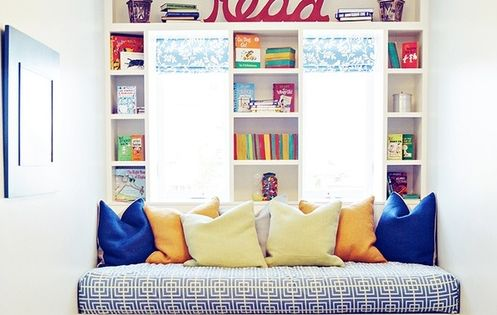 Colourful Reading Corner, good idea for kids reading corner