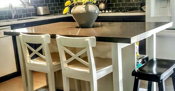 Add Your Kitchen With Kitchen Island With Stools: Ikea Stenstorp Kitchen Island Hack. We Added Grey Quartz