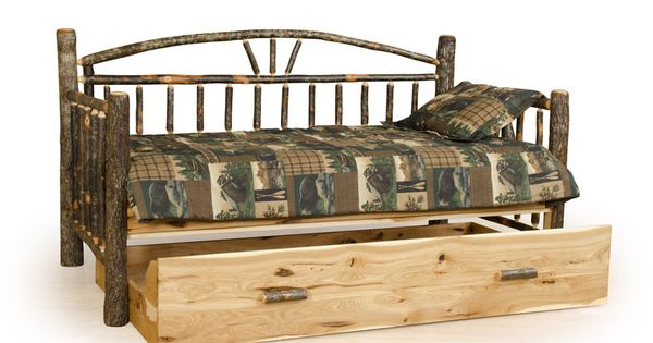 Log Trundle Bed Rustic Day Bed Cabin Furniture Lodge