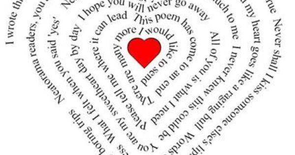 Carte D Amour En Forme De Coeur Et De Poeme Pour La Saint Valentin