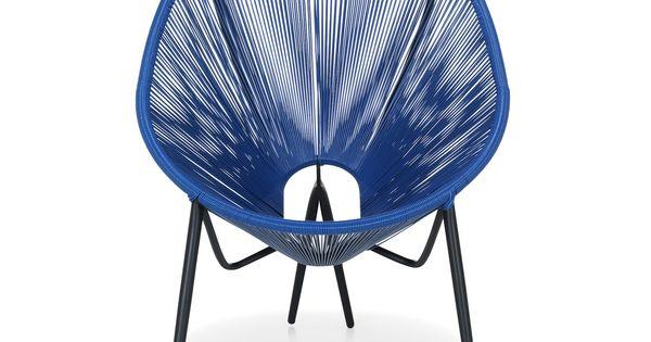 fauteuil de jardin r tro en fils scoubidou bleu turquoise kadom fauteuils de jardin salon. Black Bedroom Furniture Sets. Home Design Ideas