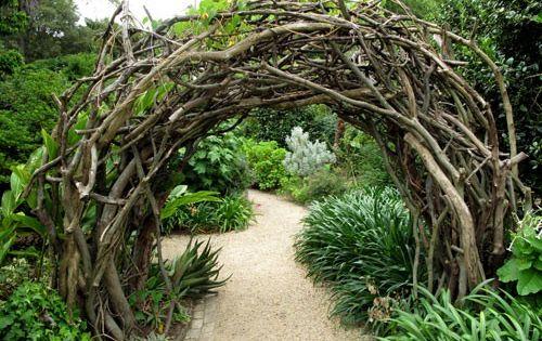 Rustic garden arch - so cool!