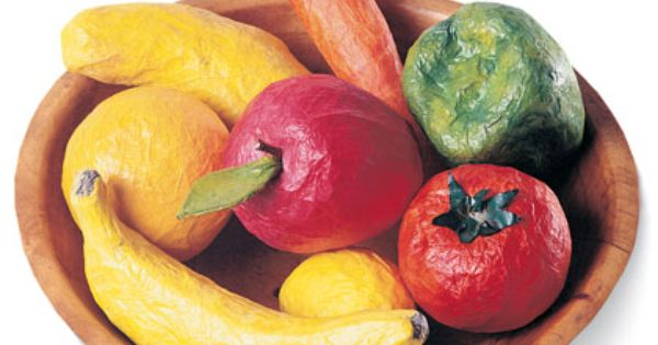 Colorful fruit veggie bowl perfect for a rainy day this for Perfect paper mache