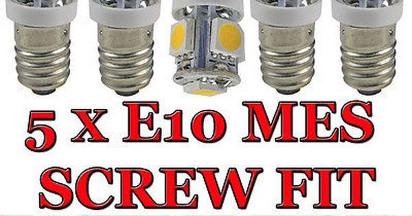 5 X Led E10 Screw Bulb Bulbs 12v Classic Car Project Part Glb987