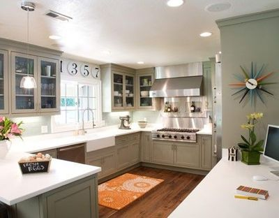 Grey And Green Kitchen green retro cabinets | grey/green kitchen with playful, retro