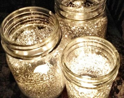 Glitter Jars! Mix water with Elmer's glue and brush the inside of