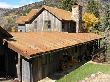 Traditional Home Rustic Log Homes Design Pictures Remodel Decor And Ideas Page 13 Rustic Home Design Rustic Exterior Corrugated Metal Roof