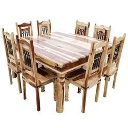 Peoria Solid Wood Large Square Dining Table Chair Set For 8