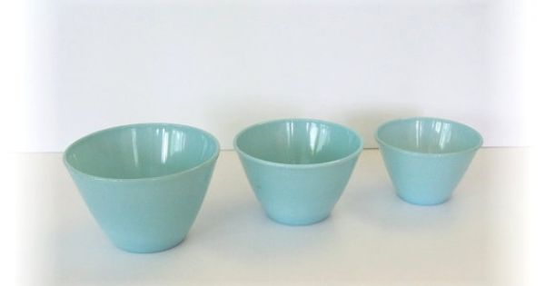 Vintage Fire King Delphite Blue Nesting Bowls