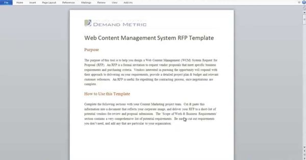 Web Content Management RFP Template RFP Pinterest - rfp template