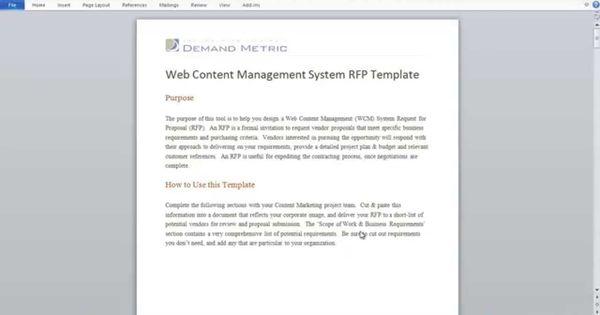 Web Content Management RFP Template RFP Pinterest - rfp template