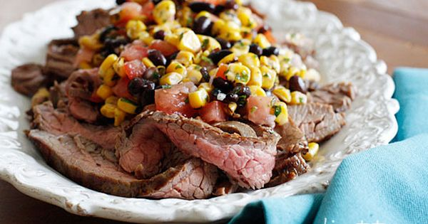 Grilled Flank Steak with Black Beans Corn and Tomatoes recipe