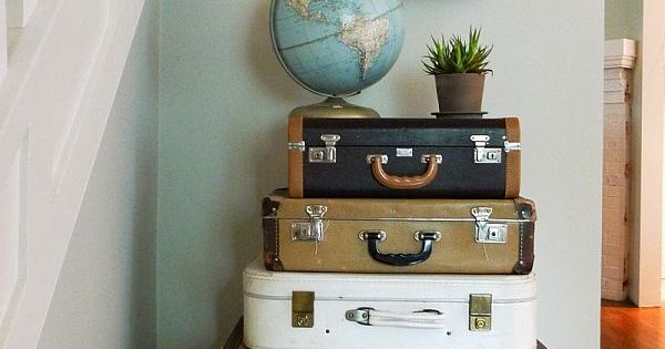 vintage suitcases & a globe... cute storage idea and it looks great!