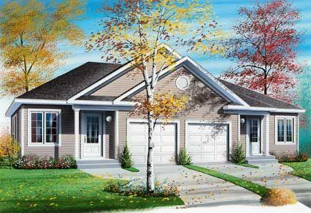 Plan 2145dr Duplex With Center Car Garage For Privacy Duplex Floor Plans Garage House Plans Duplex House Plans