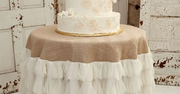 burlap and ruffles cake table