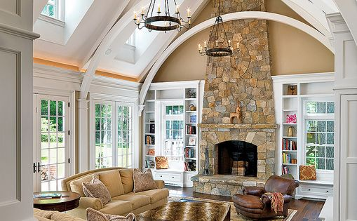 Love the arches and stone fireplace - pretty much everything. Family Room