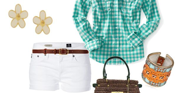 Cute Plaid Top paired with White Shorts