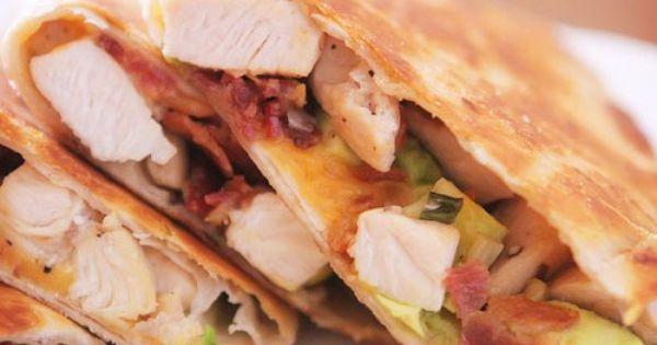 Cheesy chicken, bacon & avocado quesadillas- -Always a go-to meal for me